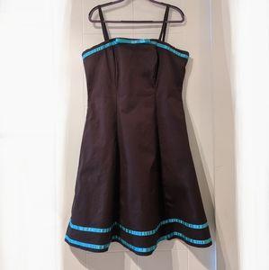 Classic Jane Bonbon BRALESS dress, brown & blue